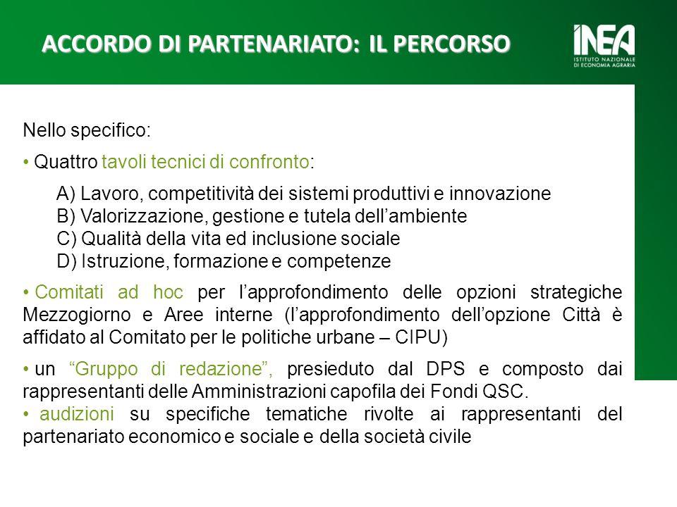 Nello specifico: Quattro tavoli tecnici di confronto: A) Lavoro, competitività dei sistemi produttivi e innovazione B) Valorizzazione, gestione e tute