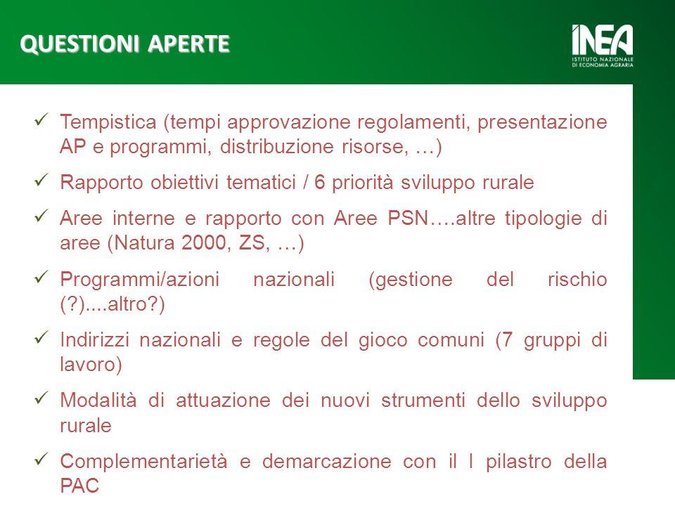 Tempistica (tempi approvazione regolamenti, presentazione AP e programmi, distribuzione risorse, …) Rapporto obiettivi tematici / 6 priorità sviluppo