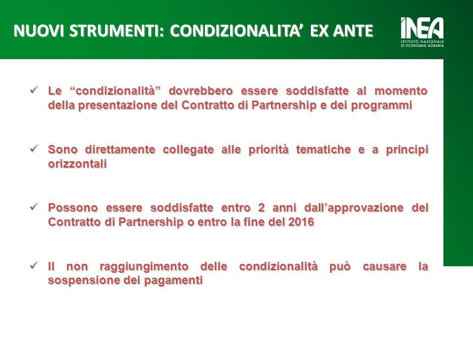 Le condizionalità dovrebbero essere soddisfatte al momento della presentazione del Contratto di Partnership e dei programmi Le condizionalità dovrebbe