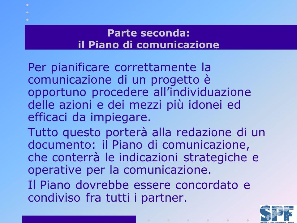 Parte seconda: il Piano di comunicazione Per pianificare correttamente la comunicazione di un progetto è opportuno procedere allindividuazione delle azioni e dei mezzi più idonei ed efficaci da impiegare.