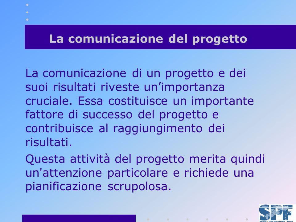 La comunicazione del progetto La comunicazione di un progetto e dei suoi risultati riveste unimportanza cruciale.