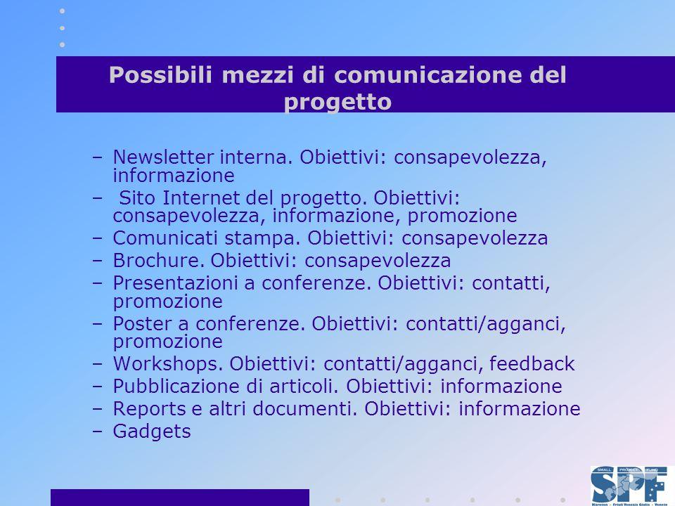 Possibili mezzi di comunicazione del progetto –Newsletter interna.