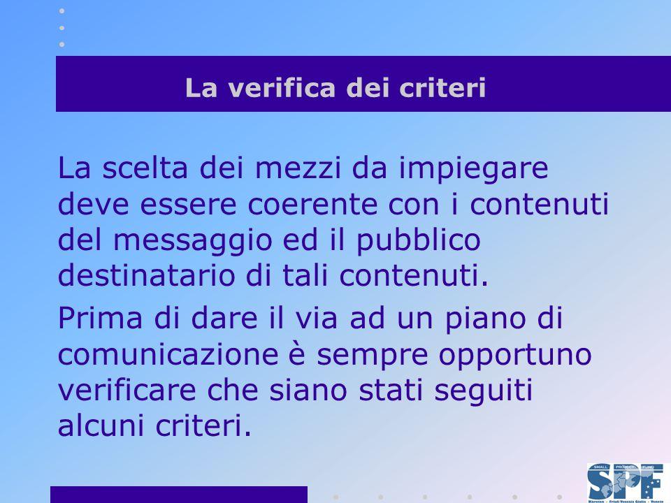 La verifica dei criteri La scelta dei mezzi da impiegare deve essere coerente con i contenuti del messaggio ed il pubblico destinatario di tali contenuti.