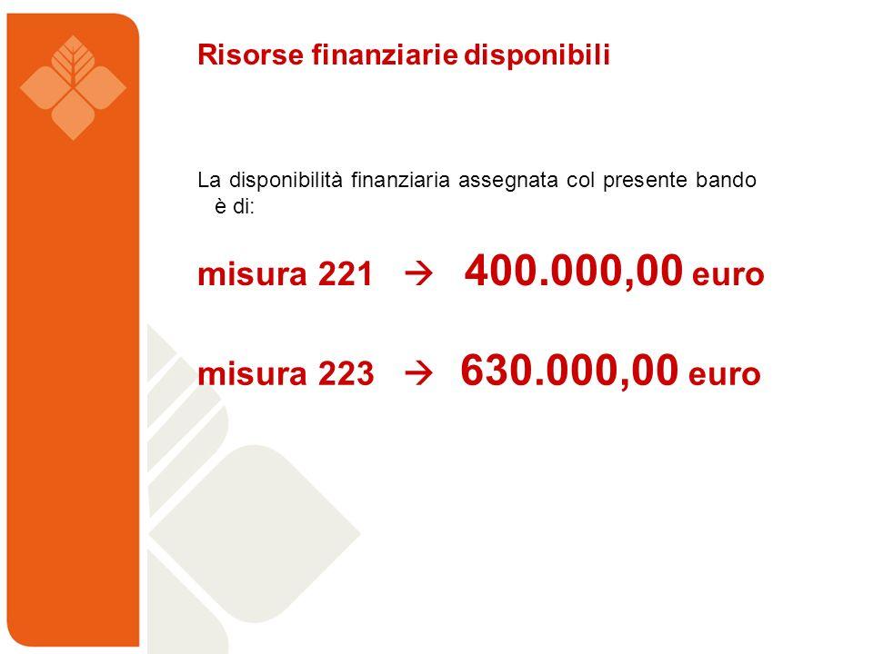 La disponibilità finanziaria assegnata col presente bando è di: Risorse finanziarie disponibili misura 221 400.000,00 euro misura 223 630.000,00 euro