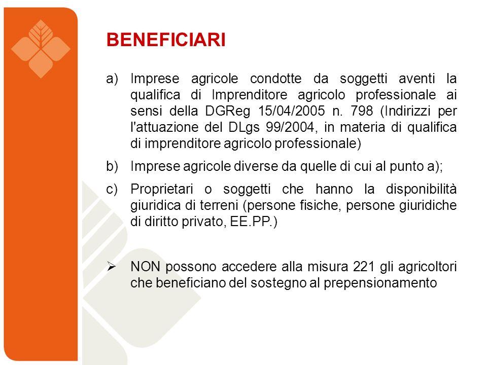 BENEFICIARI a) Imprese agricole condotte da soggetti aventi la qualifica di Imprenditore agricolo professionale ai sensi della DGReg 15/04/2005 n. 798