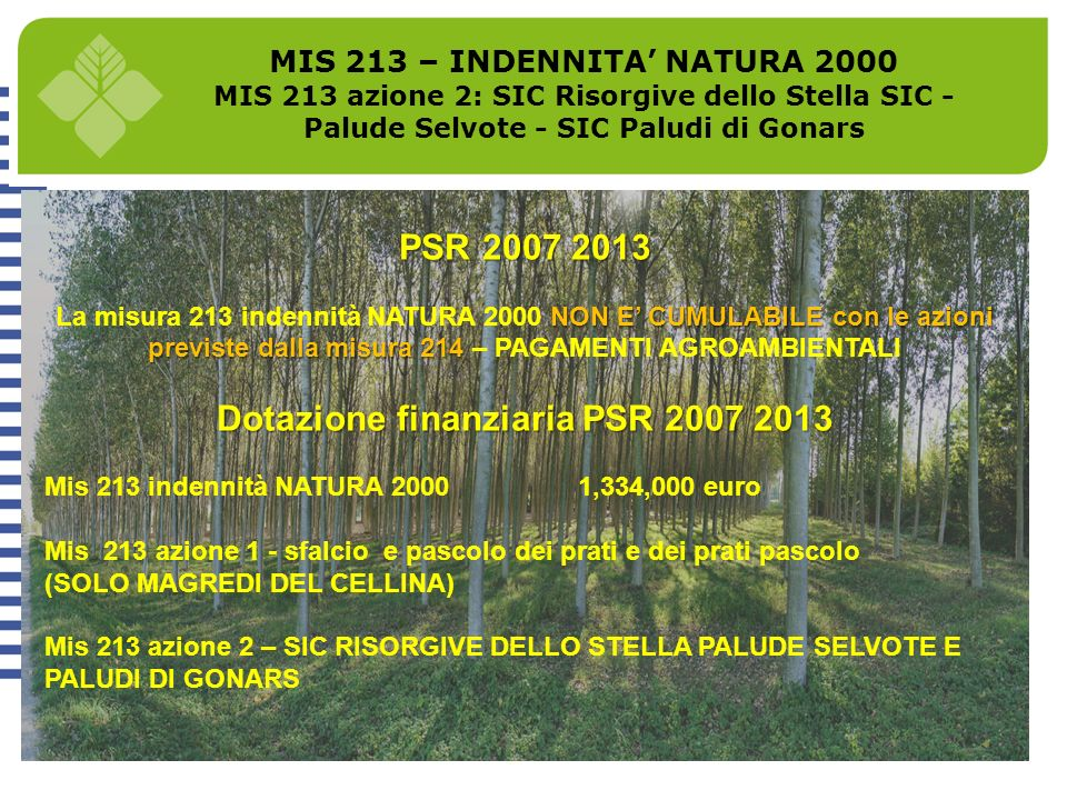 MIS 213 – INDENNITA NATURA 2000 MIS 213 azione 2: SIC Risorgive dello Stella SIC - Palude Selvote - SIC Paludi di Gonars PSR 2007 2013 NON E CUMULABIL