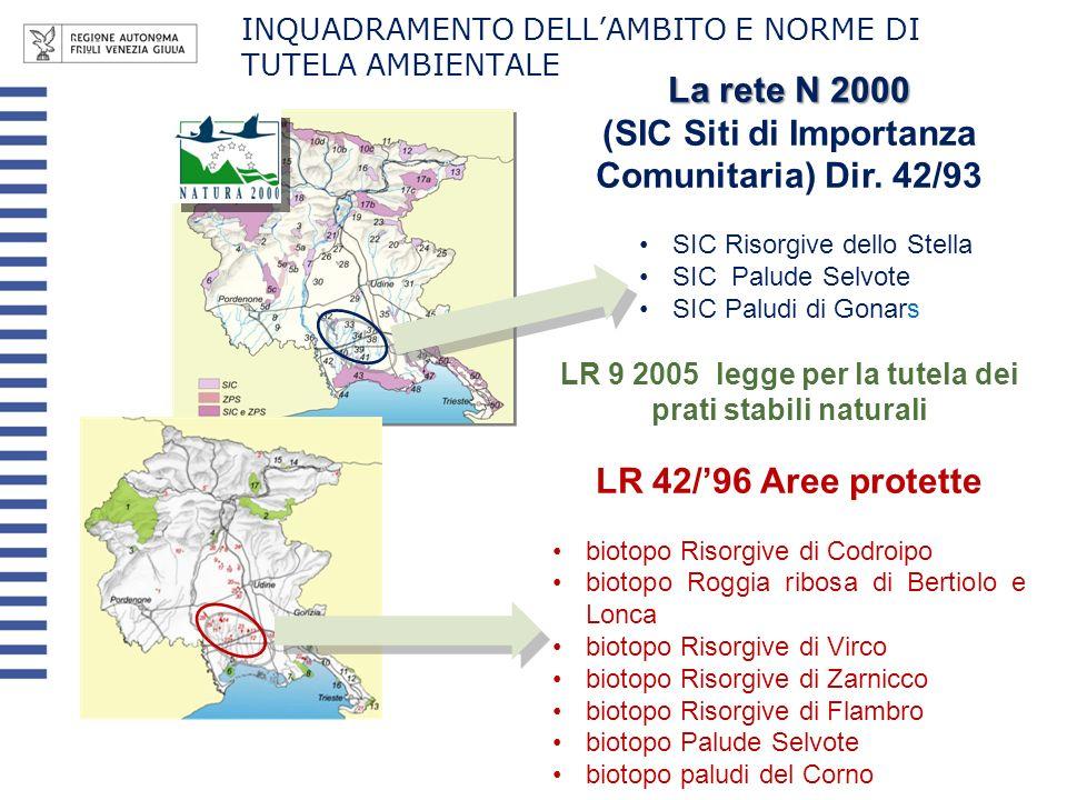 La rete N 2000 (SIC Siti di Importanza Comunitaria) Dir. 42/93 SIC Risorgive dello Stella SIC Palude SelvoteSIC Palude Selvote SIC Paludi di GonarsSIC