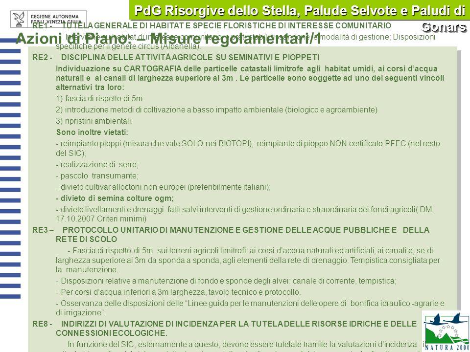 PdG Risorgive dello Stella, Palude Selvote e Paludi di Gonars RE1 - TUTELA GENERALE DI HABITAT E SPECIE FLORISTICHE DI INTERESSE COMUNITARIO Intervien