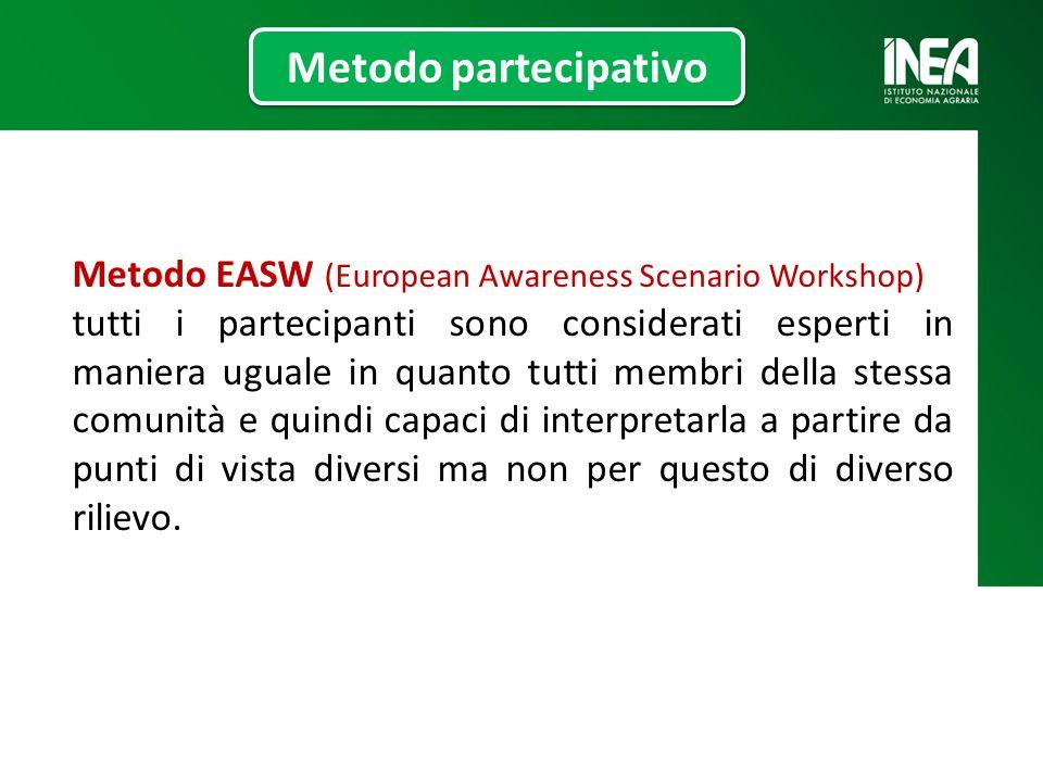 Metodo EASW (European Awareness Scenario Workshop) tutti i partecipanti sono considerati esperti in maniera uguale in quanto tutti membri della stessa comunità e quindi capaci di interpretarla a partire da punti di vista diversi ma non per questo di diverso rilievo.