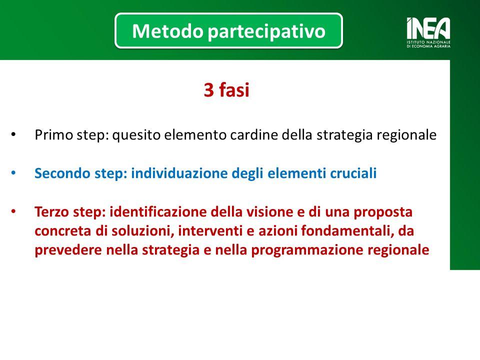 3 fasi Primo step: quesito elemento cardine della strategia regionale Secondo step: individuazione degli elementi cruciali Terzo step: identificazione della visione e di una proposta concreta di soluzioni, interventi e azioni fondamentali, da prevedere nella strategia e nella programmazione regionale Metodo partecipativo