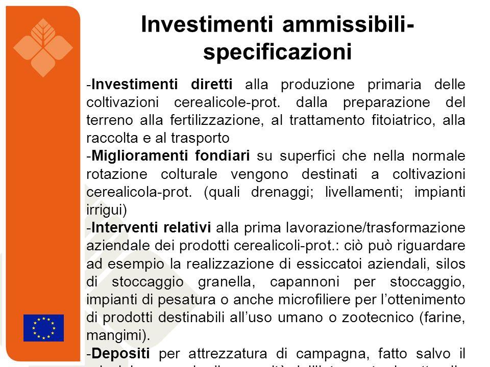 -Investimenti diretti alla produzione primaria delle coltivazioni cerealicole-prot. dalla preparazione del terreno alla fertilizzazione, al trattament