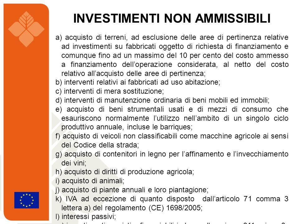 a) acquisto di terreni, ad esclusione delle aree di pertinenza relative ad investimenti su fabbricati oggetto di richiesta di finanziamento e comunque