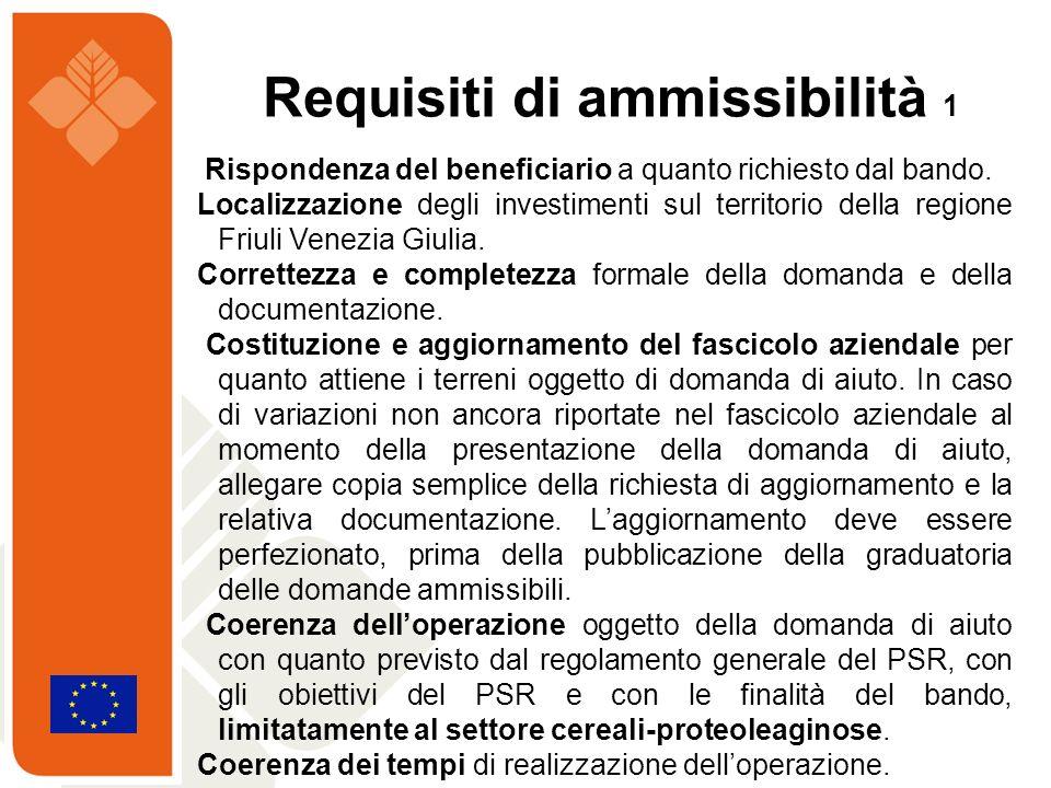 Rispondenza del beneficiario a quanto richiesto dal bando. Localizzazione degli investimenti sul territorio della regione Friuli Venezia Giulia. Corre