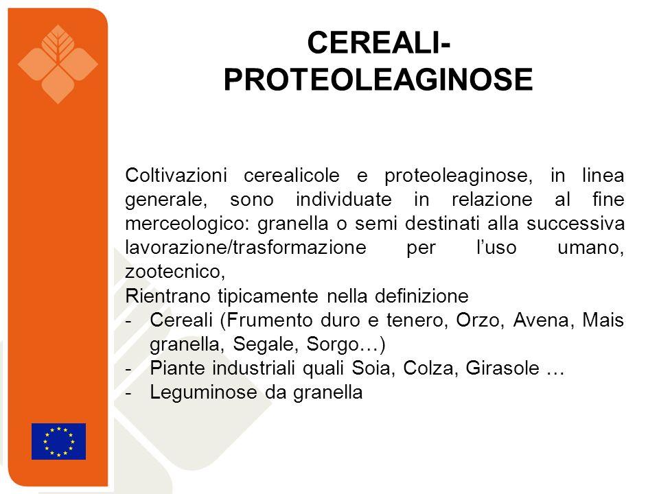 Coltivazioni cerealicole e proteoleaginose, in linea generale, sono individuate in relazione al fine merceologico: granella o semi destinati alla succ