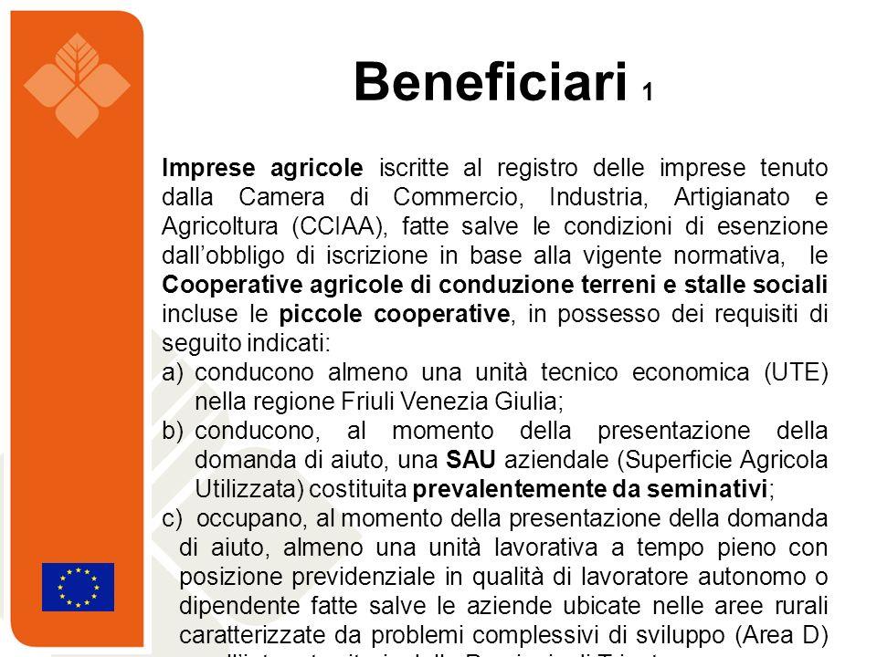 Imprese agricole iscritte al registro delle imprese tenuto dalla Camera di Commercio, Industria, Artigianato e Agricoltura (CCIAA), fatte salve le con