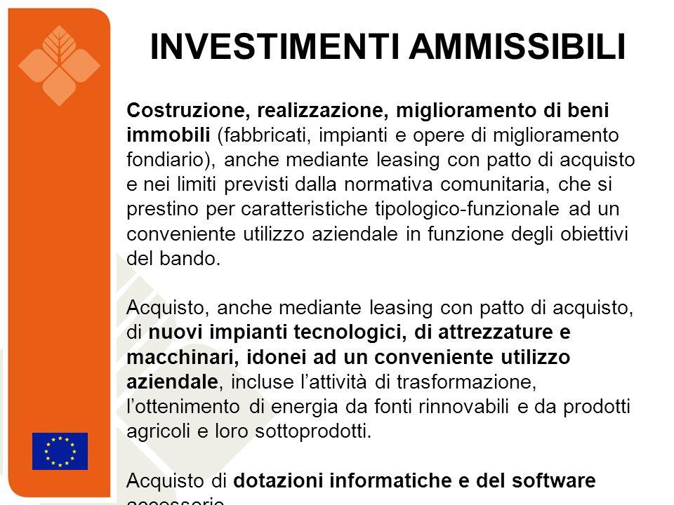 Costruzione, realizzazione, miglioramento di beni immobili (fabbricati, impianti e opere di miglioramento fondiario), anche mediante leasing con patto