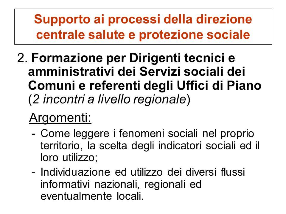 Supporto ai processi della direzione centrale salute e protezione sociale 2. Formazione per Dirigenti tecnici e amministrativi dei Servizi sociali dei