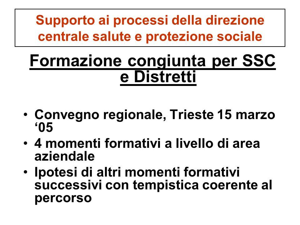 Supporto ai processi della direzione centrale salute e protezione sociale Formazione congiunta per SSC e Distretti Convegno regionale, Trieste 15 marz
