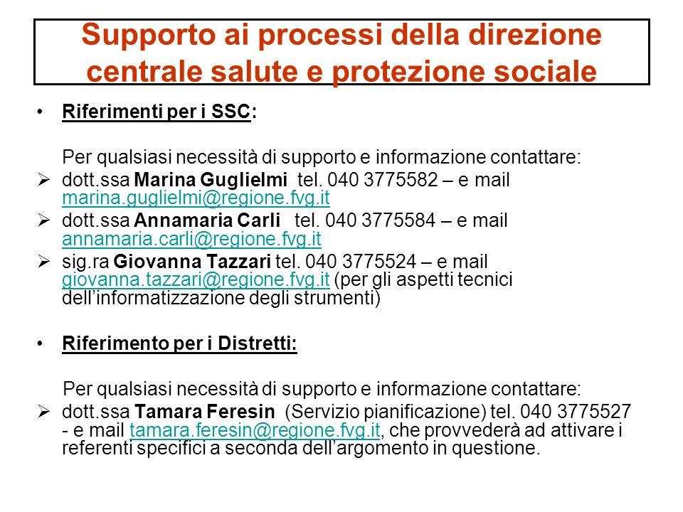 Supporto ai processi della direzione centrale salute e protezione sociale Riferimenti per i SSC: Per qualsiasi necessità di supporto e informazione co