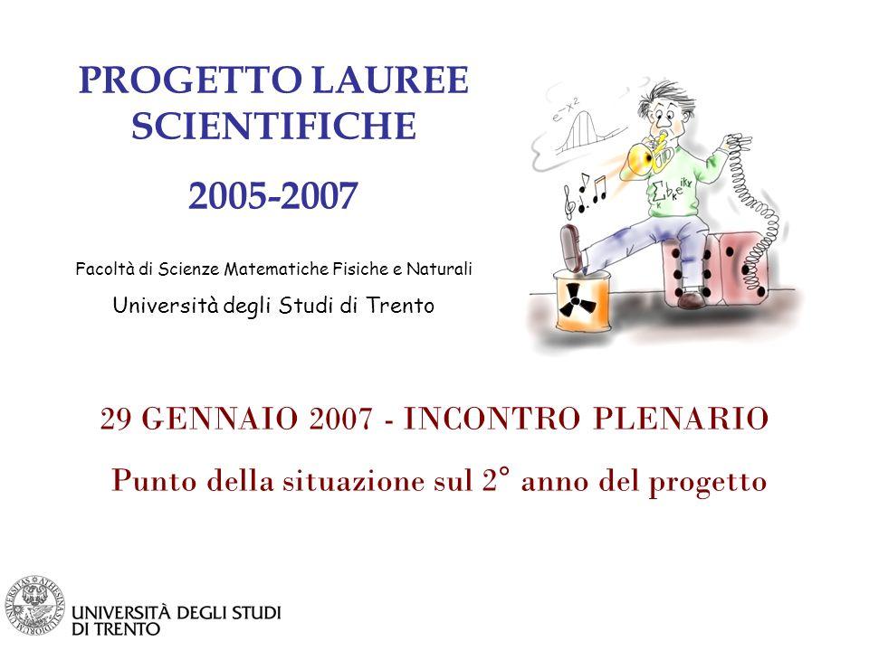 PROGETTO LAUREE SCIENTIFICHE 2005-2007 Facoltà di Scienze Matematiche Fisiche e Naturali Università degli Studi di Trento 29 GENNAIO 2007 - INCONTRO PLENARIO Punto della situazione sul 2° anno del progetto