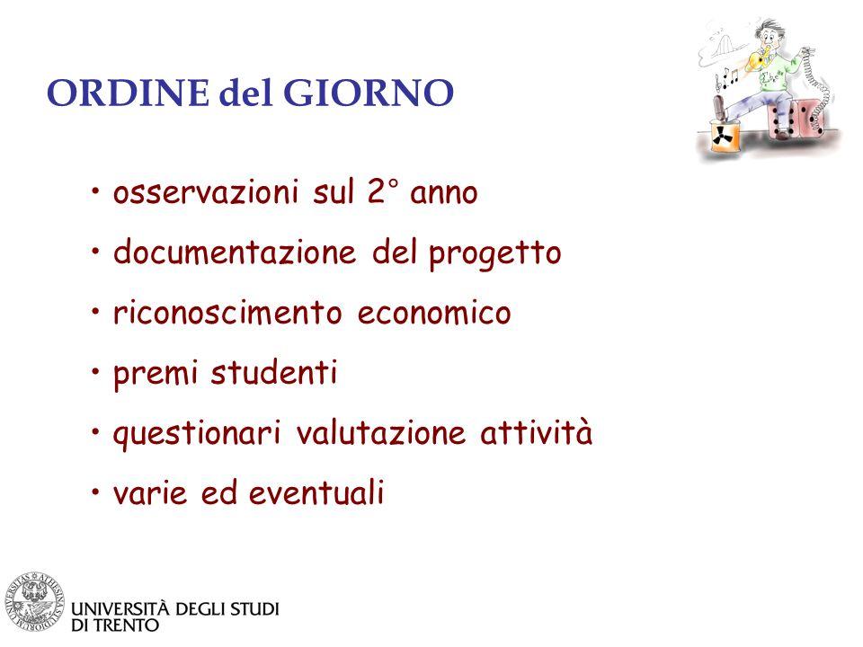 ORDINE del GIORNO osservazioni sul 2° anno documentazione del progetto riconoscimento economico premi studenti questionari valutazione attività varie ed eventuali