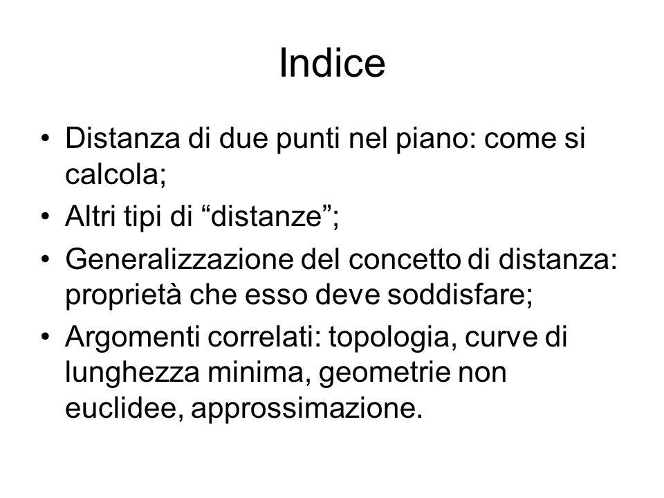 DISTANZA DI DUE PUNTI NEL PIANO