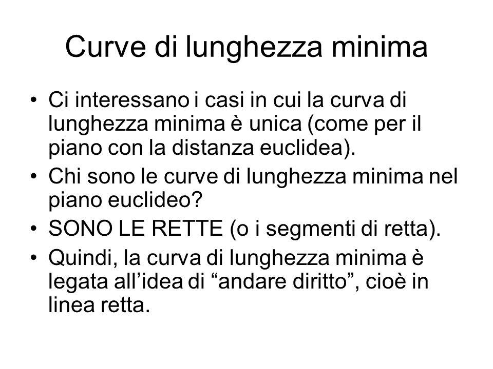 Curve di lunghezza minima Se in uno spazio metrico X, qualunque siano i punti P e Q, esiste ununica curva di lunghezza minima che li congiunge, allora tale curva corrisponde al concetto di linea retta per lo spazio metrico X.