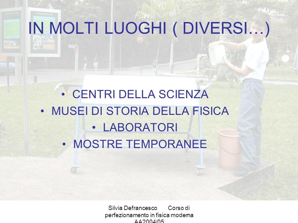 Silvia DefrancescoCorso di perfezionamento in fisica moderna AA2004/05 IN MOLTI LUOGHI ( DIVERSI…) CENTRI DELLA SCIENZA MUSEI DI STORIA DELLA FISICA LABORATORI MOSTRE TEMPORANEE