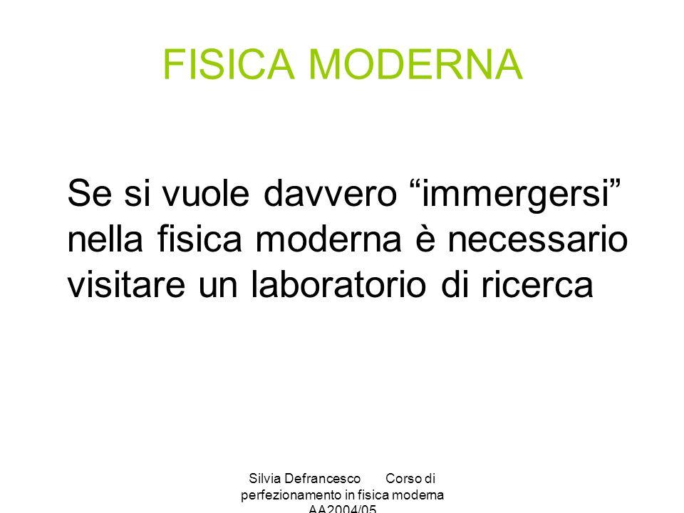 Silvia DefrancescoCorso di perfezionamento in fisica moderna AA2004/05 FISICA MODERNA Se si vuole davvero immergersi nella fisica moderna è necessario visitare un laboratorio di ricerca
