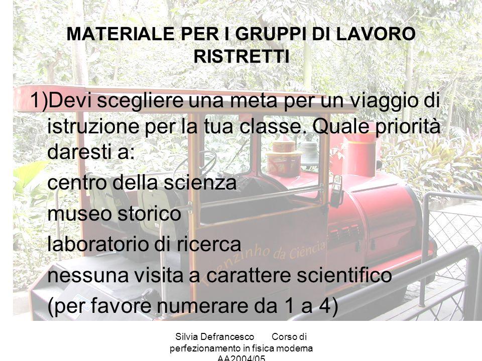 Silvia DefrancescoCorso di perfezionamento in fisica moderna AA2004/05 MATERIALE PER I GRUPPI DI LAVORO RISTRETTI 1)Devi scegliere una meta per un viaggio di istruzione per la tua classe.