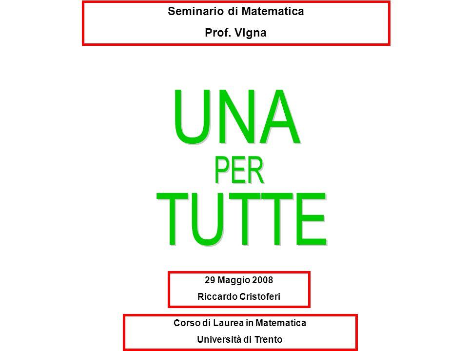 Seminario di Matematica Prof. Vigna 29 Maggio 2008 Riccardo Cristoferi Corso di Laurea in Matematica Università di Trento