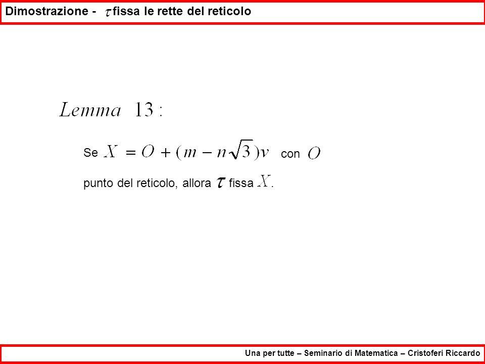 Una per tutte – Seminario di Matematica – Cristoferi Riccardo Dimostrazione - fissa le rette del reticolo Se con punto del reticolo, allora fissa.