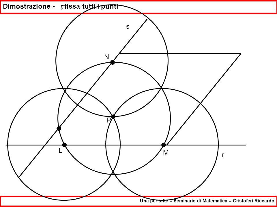 Una per tutte – Seminario di Matematica – Cristoferi Riccardo Dimostrazione - fissa tutti i punti P r s L M N