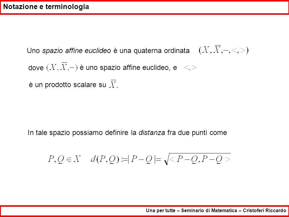 Notazione e terminologia Una per tutte – Seminario di Matematica – Cristoferi Riccardo Uno spazio affine euclideo è una quaterna ordinata dove è uno s