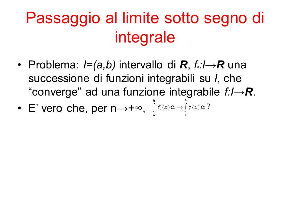 Passaggio al limite sotto segno di integrale Problema: I=(a,b) intervallo di R, f n :IR una successione di funzioni integrabili su I, che converge ad