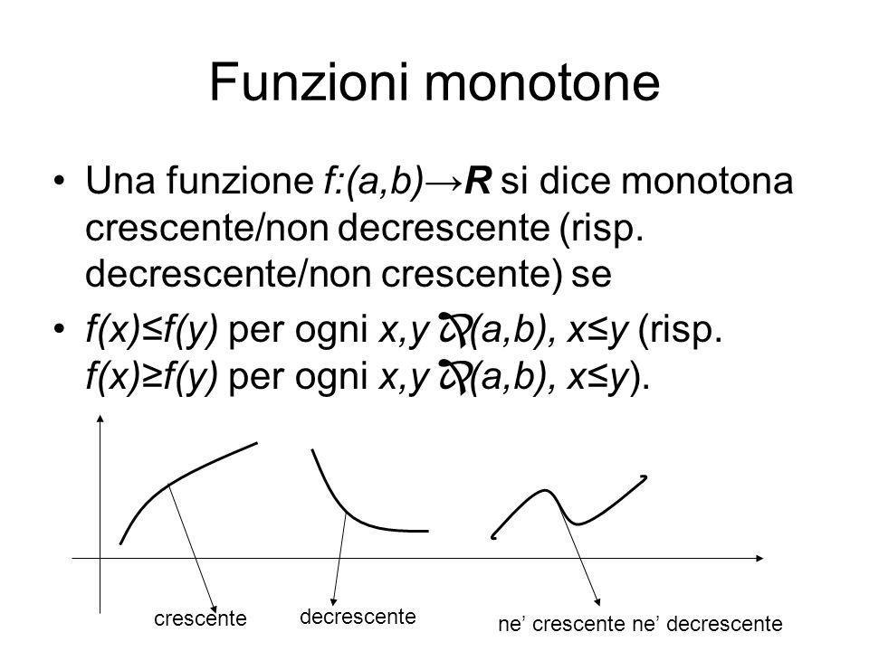 Funzioni monotone Una funzione f:(a,b)R si dice monotona crescente/non decrescente (risp. decrescente/non crescente) se f(x)f(y) per ogni x,y (a,b), x