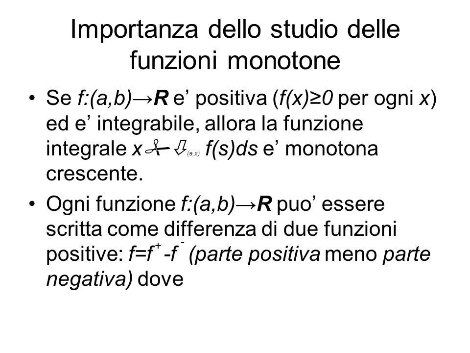 Importanza dello studio delle funzioni monotone Se f:(a,b)R e positiva (f(x)0 per ogni x) ed e integrabile, allora la funzione integrale x (a,x) f(s)d