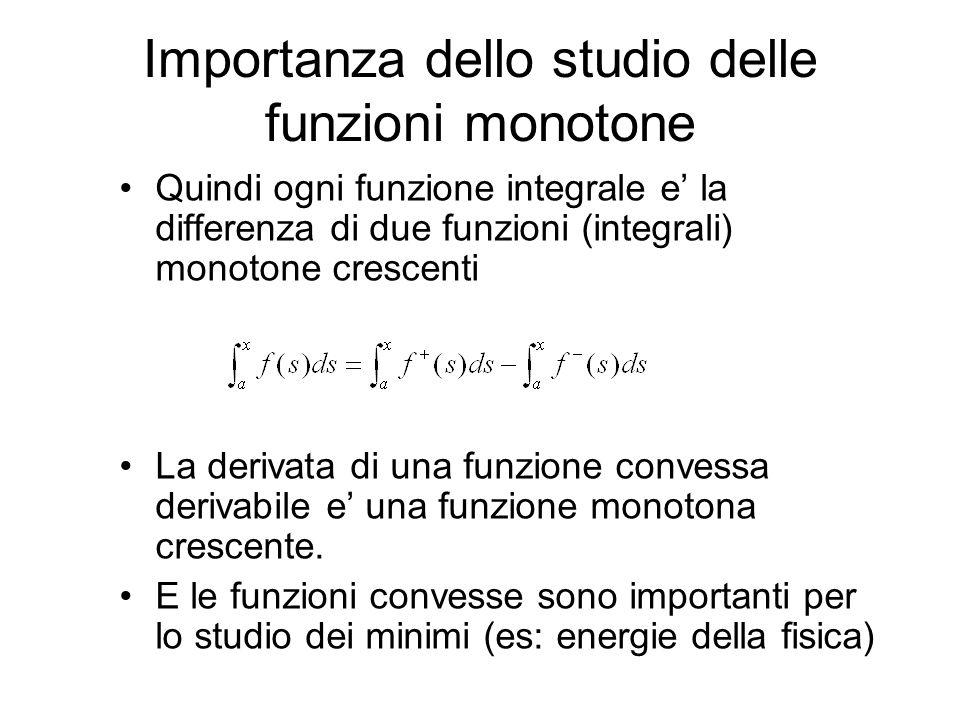 Quindi ogni funzione integrale e la differenza di due funzioni (integrali) monotone crescenti La derivata di una funzione convessa derivabile e una fu