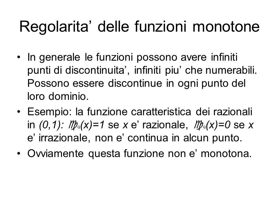 Regolarita delle funzioni monotone In generale le funzioni possono avere infiniti punti di discontinuita, infiniti piu che numerabili. Possono essere