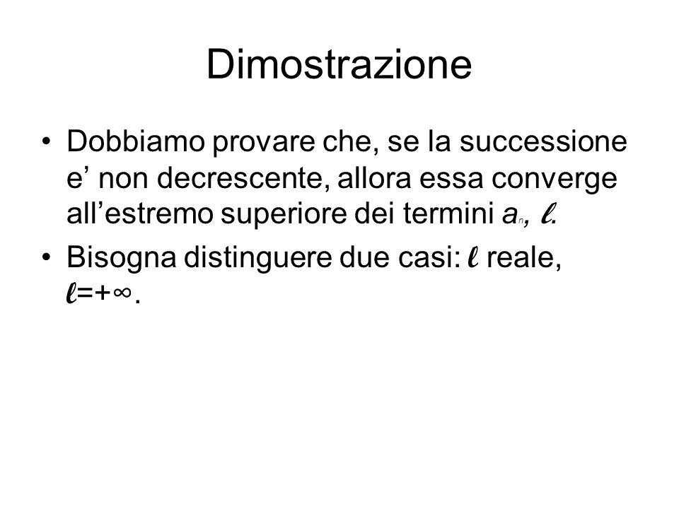 Dimostrazione Dobbiamo provare che, se la successione e non decrescente, allora essa converge allestremo superiore dei termini a n, l. Bisogna disting