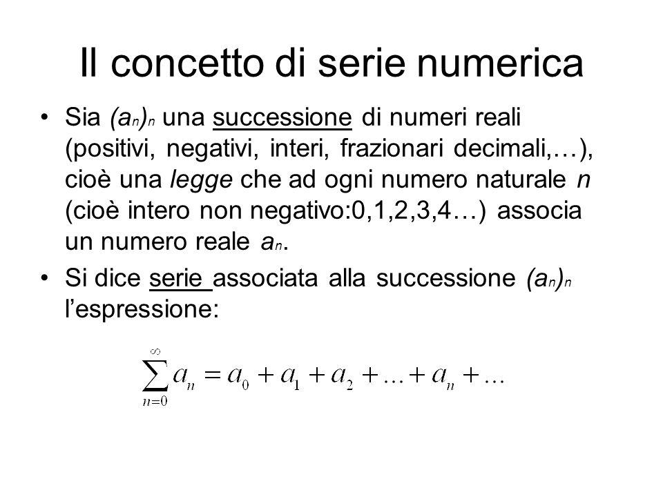 Il concetto di serie numerica Sia (a n ) n una successione di numeri reali (positivi, negativi, interi, frazionari decimali,…), cioè una legge che ad
