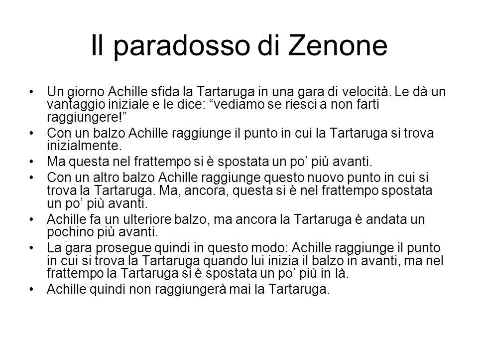 Il paradosso di Zenone Un giorno Achille sfida la Tartaruga in una gara di velocità. Le dà un vantaggio iniziale e le dice: vediamo se riesci a non fa