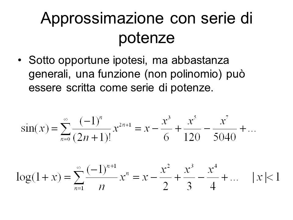 Approssimazione con serie di potenze Sotto opportune ipotesi, ma abbastanza generali, una funzione (non polinomio) può essere scritta come serie di po