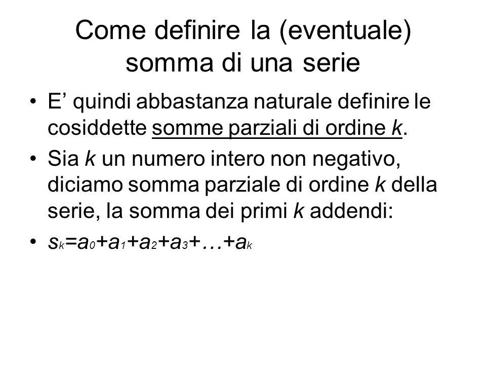 Come definire la (eventuale) somma di una serie E quindi abbastanza naturale definire le cosiddette somme parziali di ordine k. Sia k un numero intero