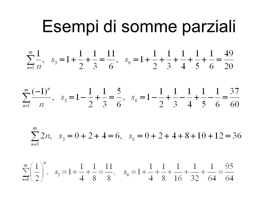 Esempi di somme parziali
