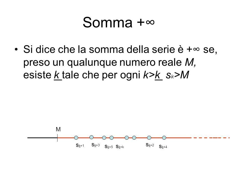 Somma + Si dice che la somma della serie è + se, preso un qualunque numero reale M, esiste k tale che per ogni k>k s k >M s k+1 s k+2 s k+3 s k+4 s k+
