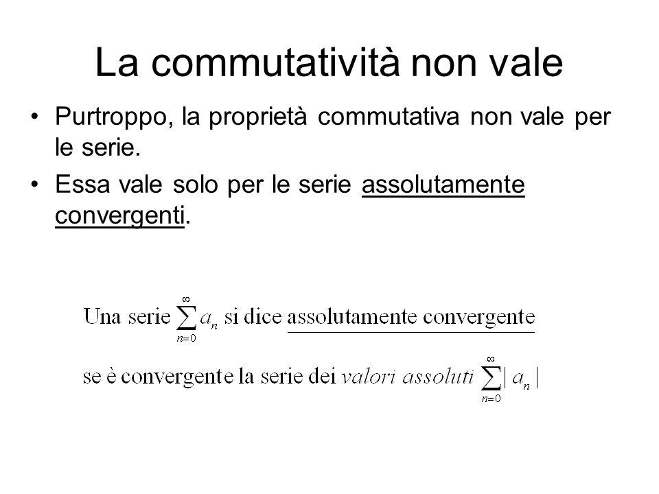 La commutatività non vale Purtroppo, la proprietà commutativa non vale per le serie. Essa vale solo per le serie assolutamente convergenti.