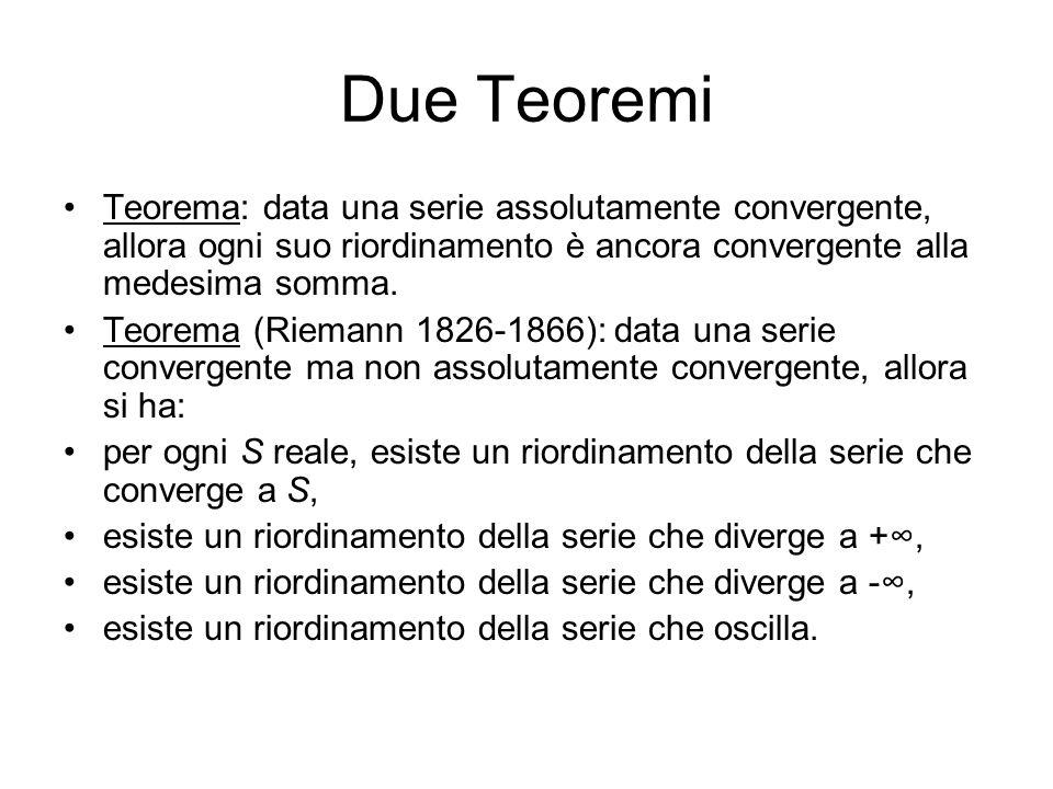 Due Teoremi Teorema: data una serie assolutamente convergente, allora ogni suo riordinamento è ancora convergente alla medesima somma. Teorema (Rieman