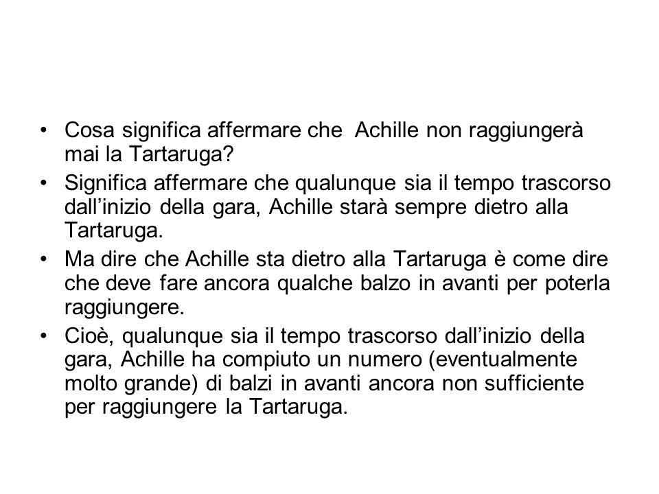 Cosa significa affermare che Achille non raggiungerà mai la Tartaruga? Significa affermare che qualunque sia il tempo trascorso dallinizio della gara,