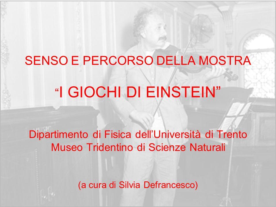 SENSO E PERCORSO DELLA MOSTRA I GIOCHI DI EINSTEIN Dipartimento di Fisica dellUniversità di Trento Museo Tridentino di Scienze Naturali (a cura di Sil